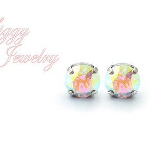 Swarovski Crystal AB Earrings, 10mm Studs